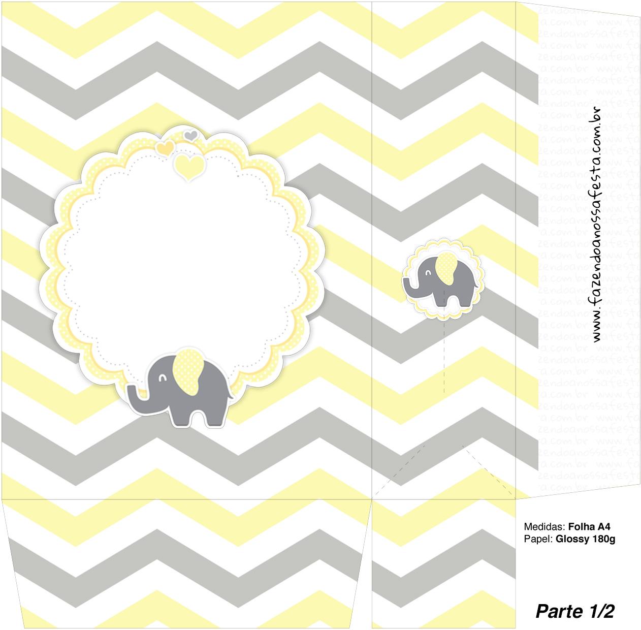 Sacolinha Surpresa 1 2 Elefantinho Chevron Amarelo e Cinza Kit Festa