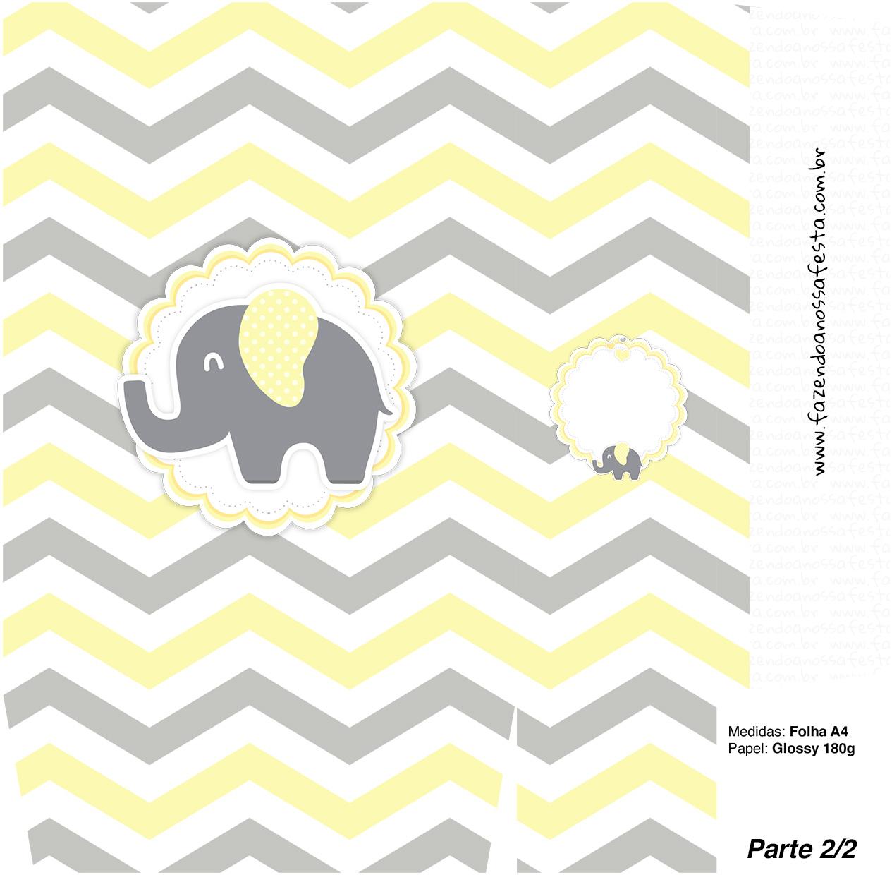 Sacolinha Surpresa 2 2 Elefantinho Chevron Amarelo e Cinza Kit Festa