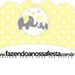 Saias Wrappers para Cupcakes 2 Elefantinho Chevron Amarelo e Cinza Kit Festa