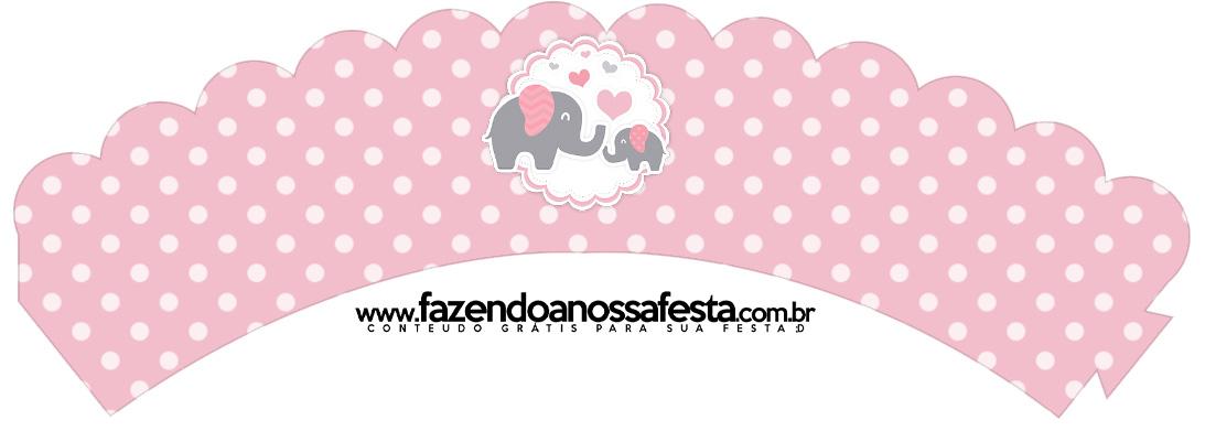 Saias Wrappers para Cupcakes 2 Kit Festa Elefantinho Rosa e Cinza Chevron
