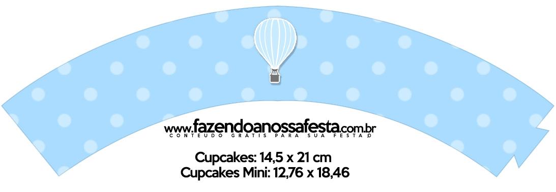Saias Wrappers para Cupcakes Balão de Ar Quente Azul Kit Festa