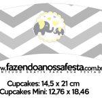 Saias Wrappers para Cupcakes Elefantinho Chevron Amarelo e Cinza Kit Festa