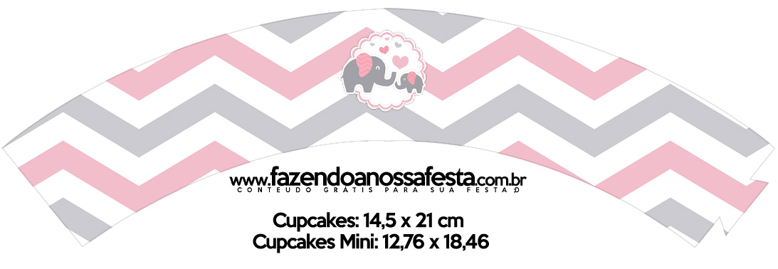 Saias Wrappers para Cupcakes Kit Festa Elefantinho Rosa e Cinza Chevron