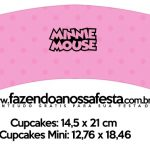 Saias Wrappers para Cupcakes Minnie Rosa Kit Festa