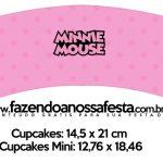 Saias Wrappers para Cupcakes Minnie Rosa Kit Festa