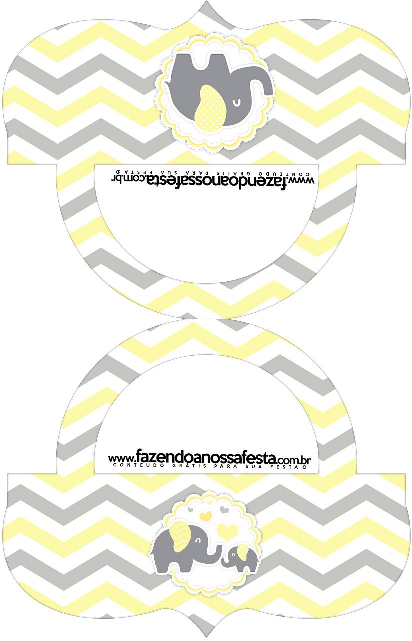 Saquinho de balas Bolsinha Elefantinho Chevron Amarelo e Cinza Kit Festa