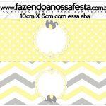 Saquinho de balas Elefantinho Chevron Amarelo e Cinza Kit Festa