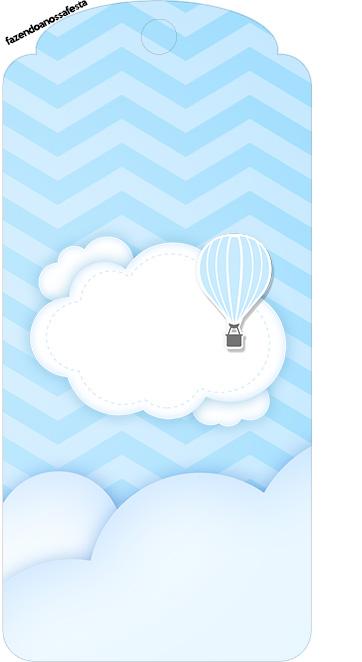 Tag Agradecimento Balão de Ar Quente Azul Kit Festa