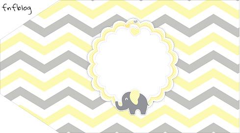 Tag Agradecimento Etiqueta Elefantinho Chevron Amarelo e Cinza Kit Festa Kit Festa