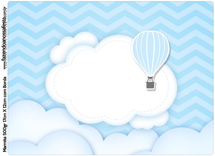 Tampa Marmitinha 500g Balão de Ar Quente Azul Kit Festa