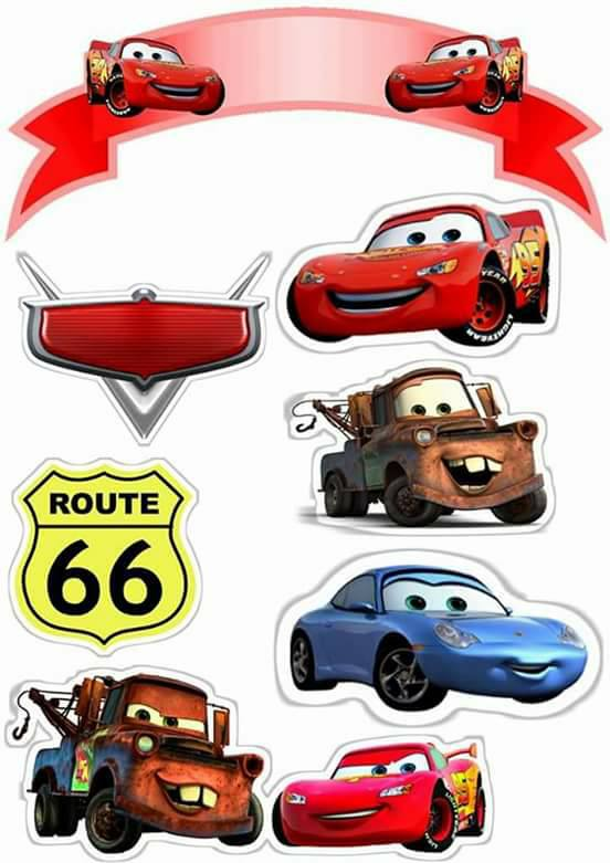 Topo de Bolo de Papel Carros Disney