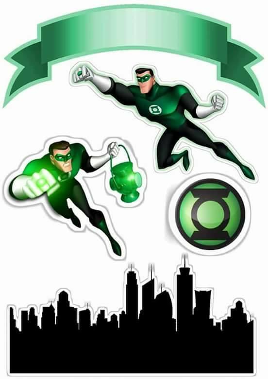 Topo de Bolo de Papel Lanterna Verde