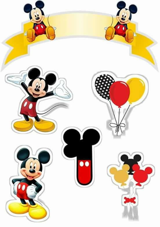 Topo de Bolo de Papel Mickey