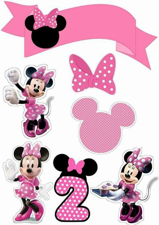 Topo de Bolo de Papel para Imprimir Minnie Rosa 2