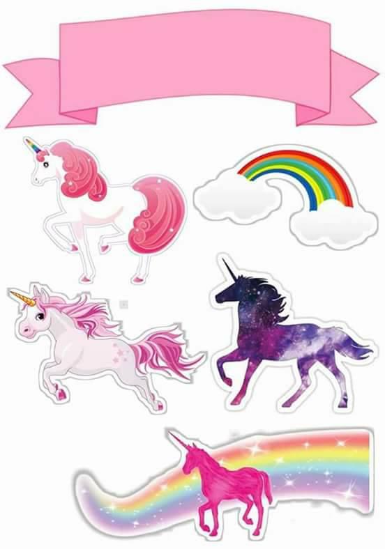 Topo de Bolo de Papel Unicornio