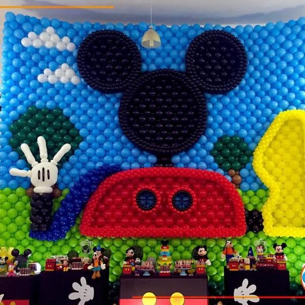 Créditos: @cenariobaloes Festa Mickey Mouse