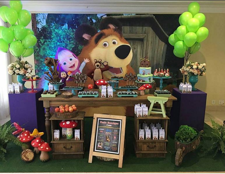 Créditos: @_decoracaodefestas Ideias para Festa Infantil Masha e o Urso