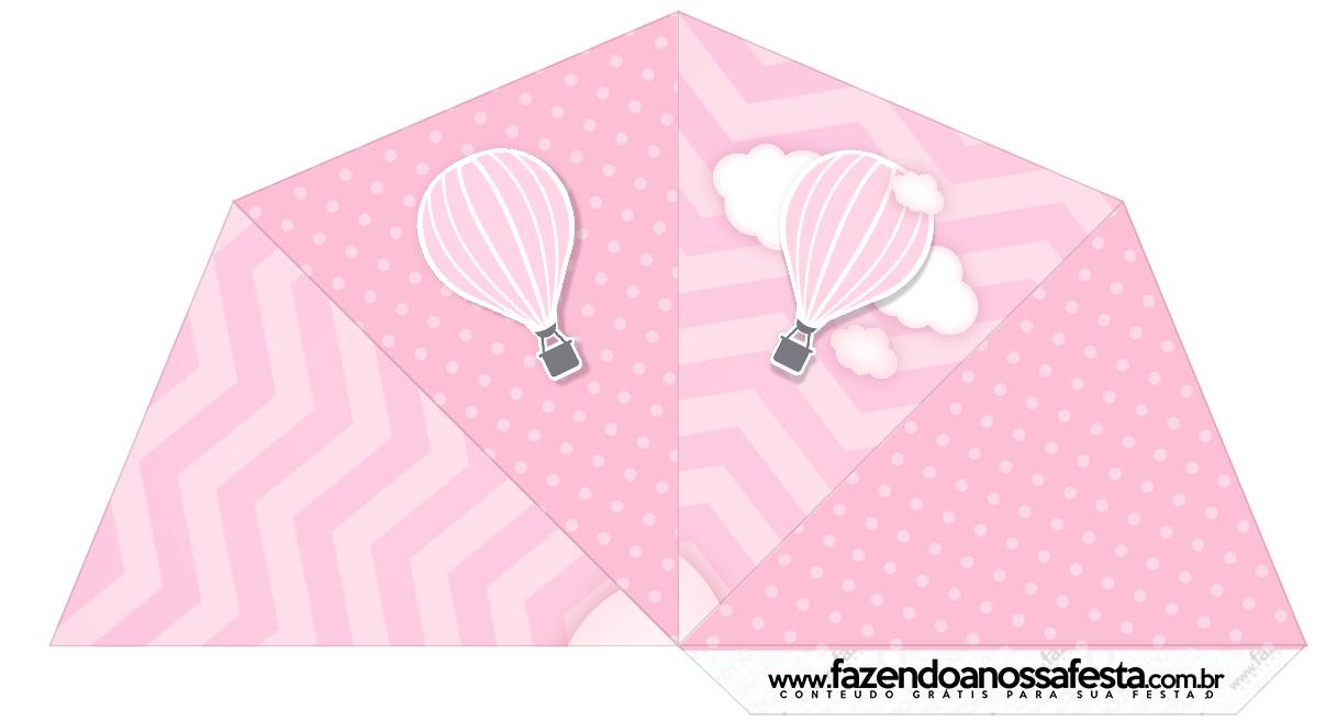 Cone Guloseimas 4 lados Balão de Ar Quente Rosa