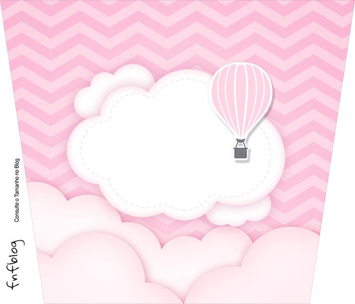 Balde de Pipoca Balão de Ar Quente Rosa Kit Festa