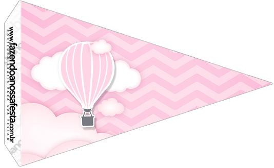 Bandeirinha Sanduiche 2 Balão de Ar Quente Rosa