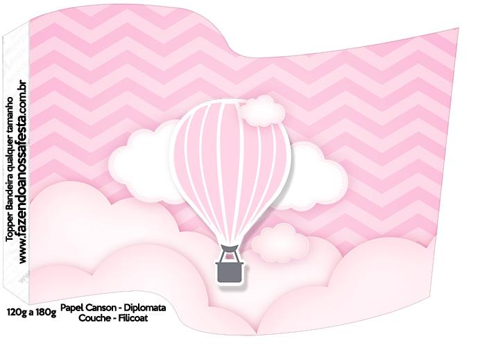 Bandeirinha Varalzinho Balão de Ar Quente Rosa
