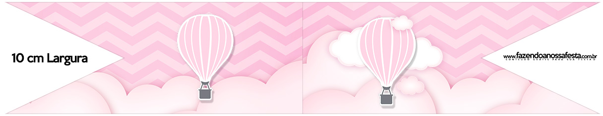 Bandeirinha para Sanduiche Balão de Ar Quente Rosa