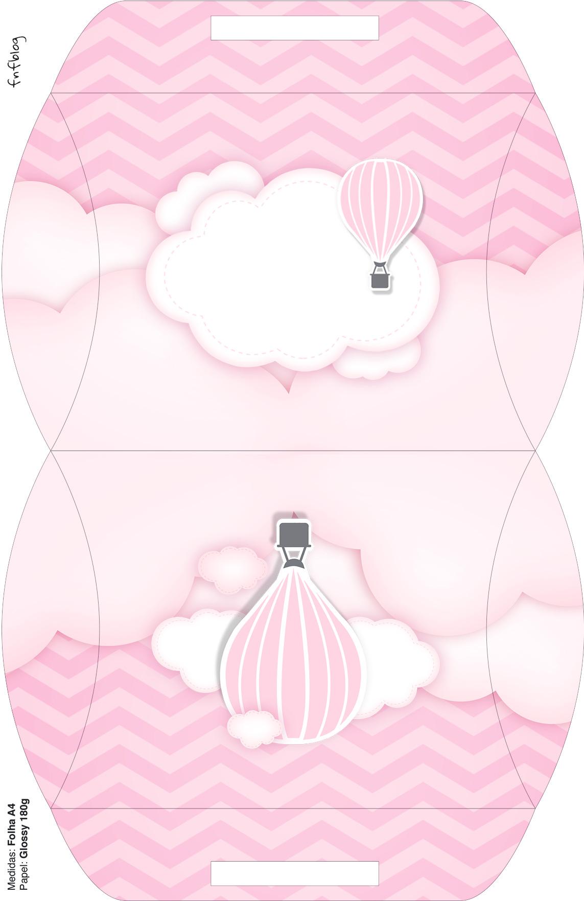 Bolsinha para lembrancinha Balão de Ar Quente Rosa