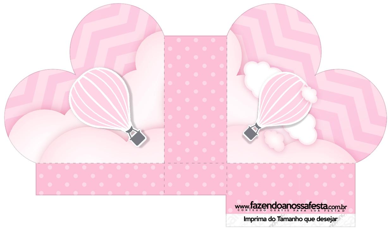 Caixa Coração Balão de Ar Quente Rosa