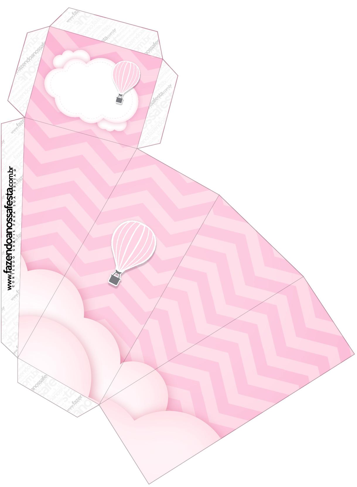 Caixa Fatia Balão de Ar Quente Rosa