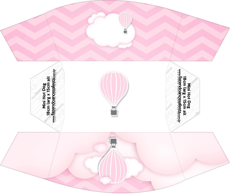 Caixa Mini Cachorro quente Balão de Ar Quente Rosa