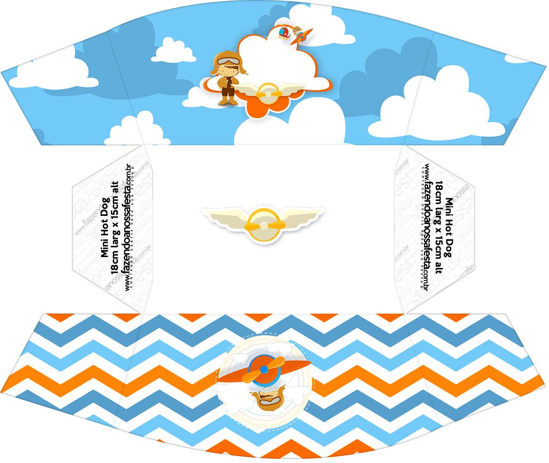 Caixa Mini Cachorro quente Menino Aviador Kit Festa