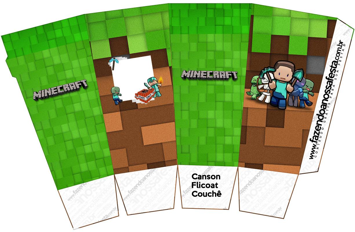 Letras Minegraft Fazendo A Nossa Festa: Caixa Pipoca Minecraft