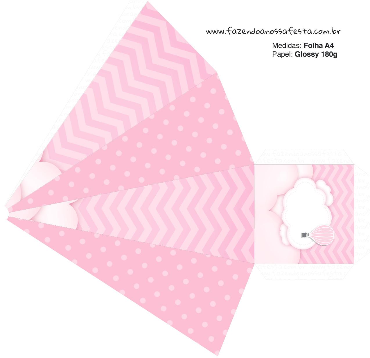 Caixa Piramide 2 Balão de Ar Quente Rosa