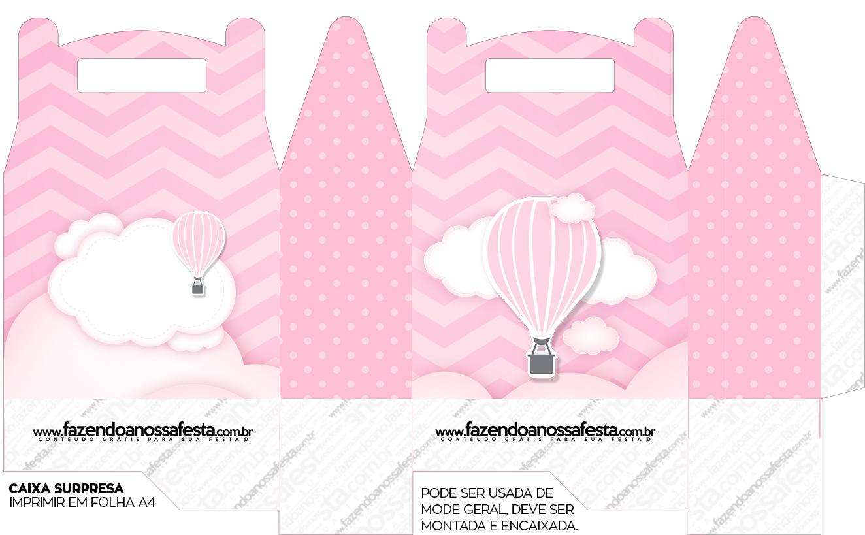 Caixa bombom Balão de Ar Quente Rosa
