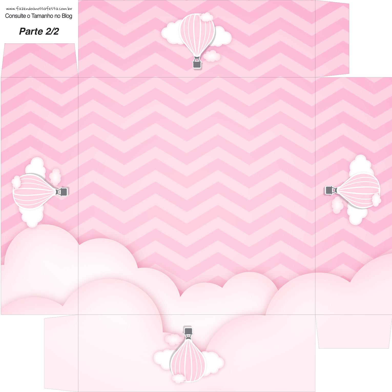 Caixa bombom Fundo Balão de Ar Quente Rosa Kit Festa