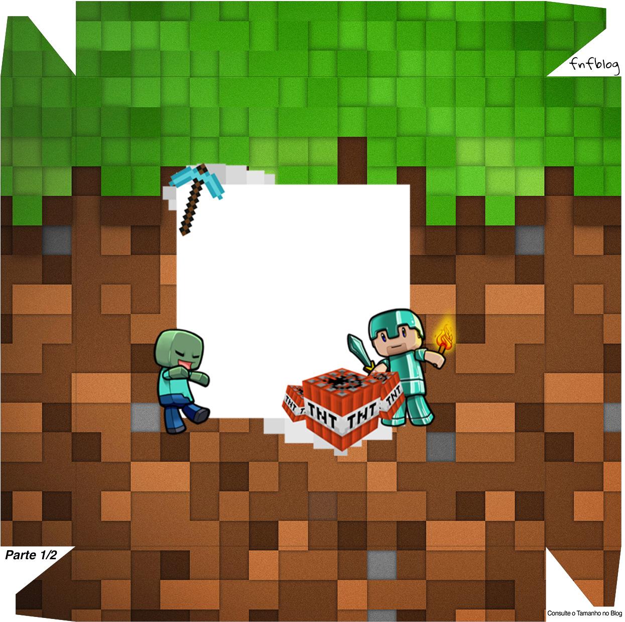 Caixa bombom Tampa Minecraft