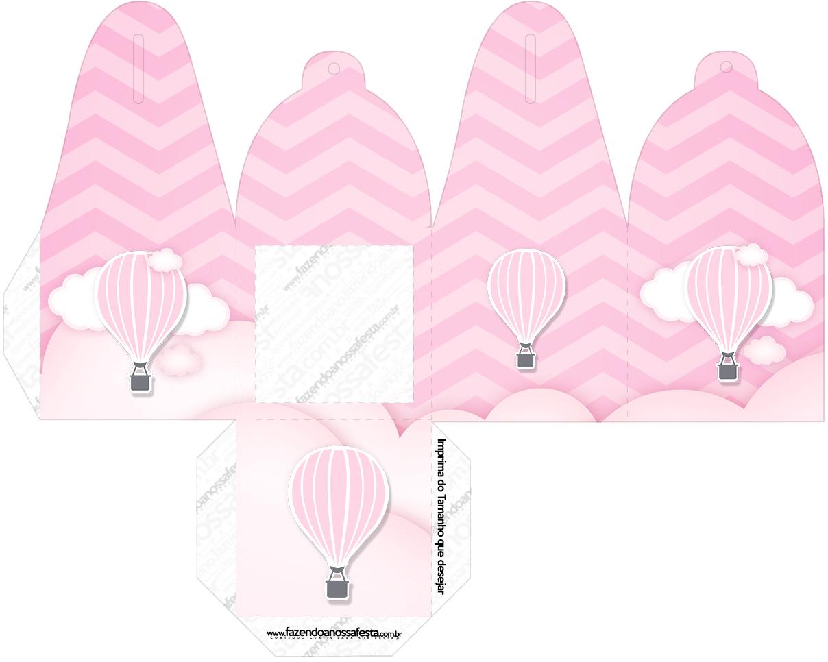 Caixa com Foto Balão de Ar Quente Rosa