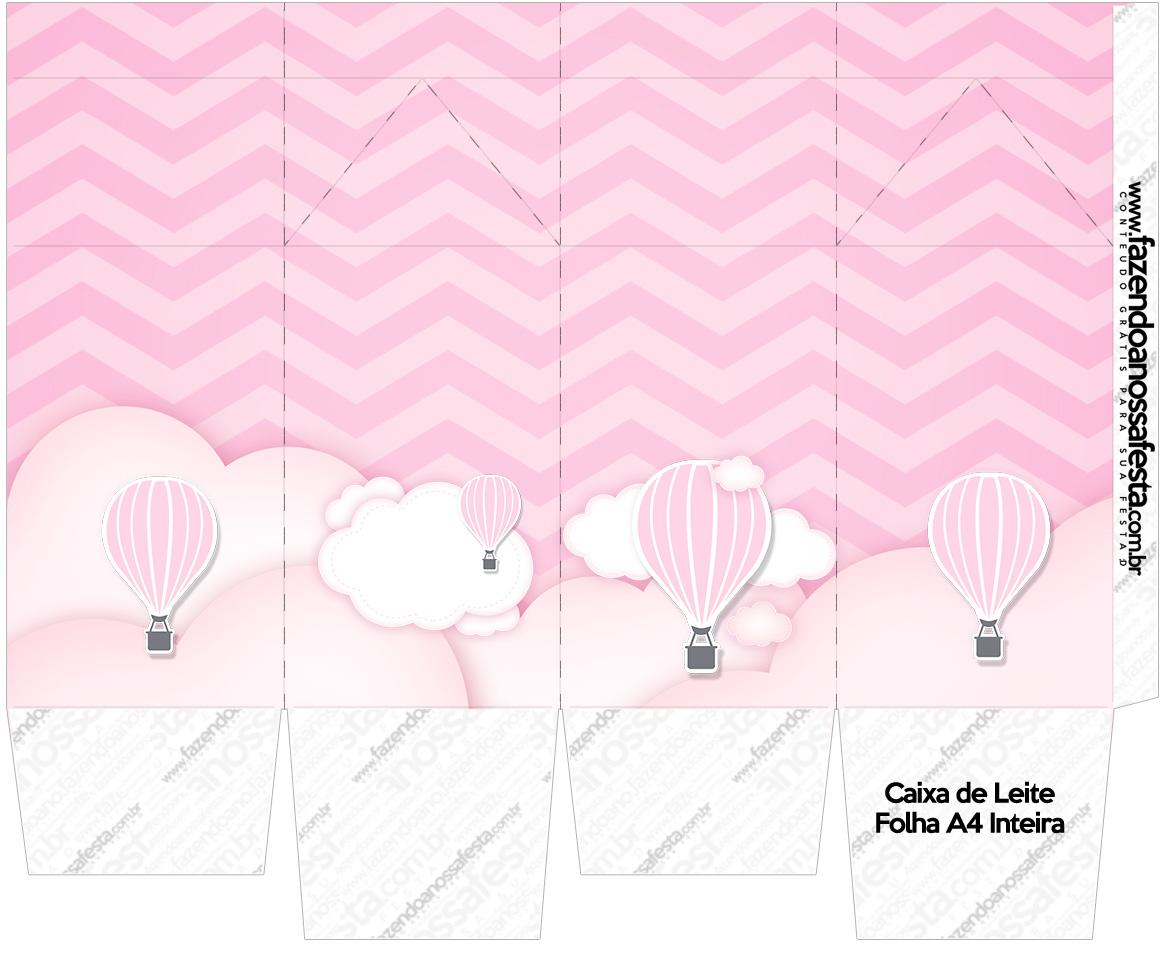 Caixa de leite Balão de Ar Quente Rosa