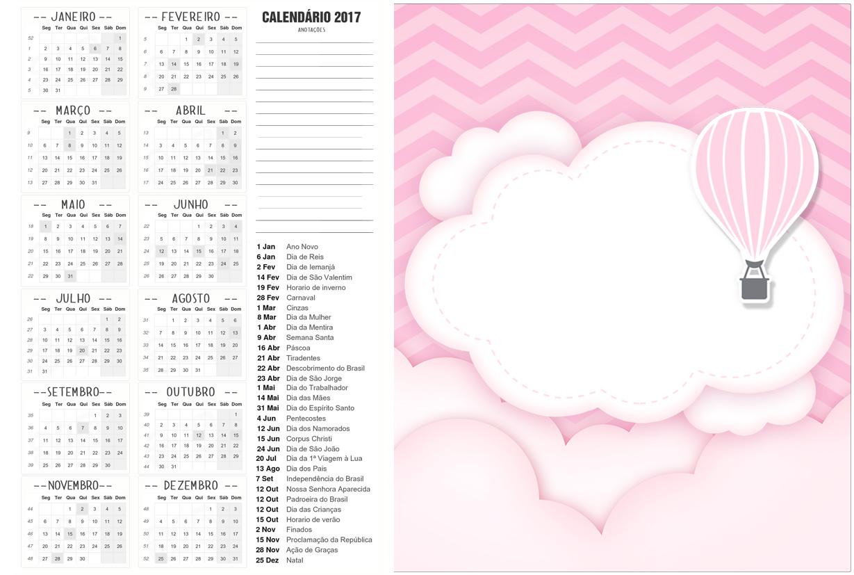 Calendario 2017 2 Balão de Ar Quente Rosa