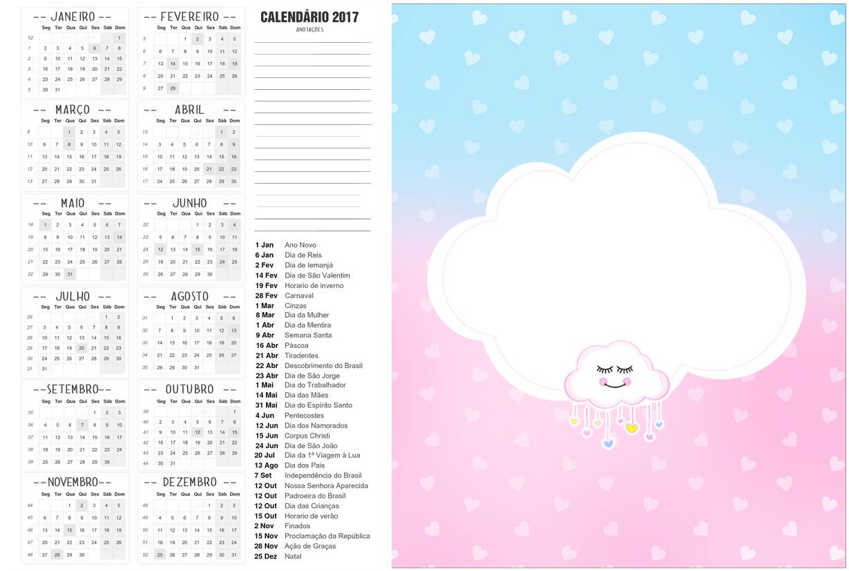Calendario 2017 2 Chuva de Amor Kit Festa