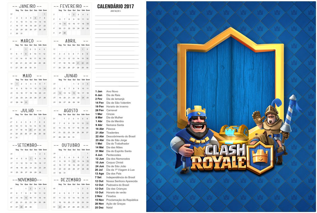 Calendário 2017 2 Clash Royale