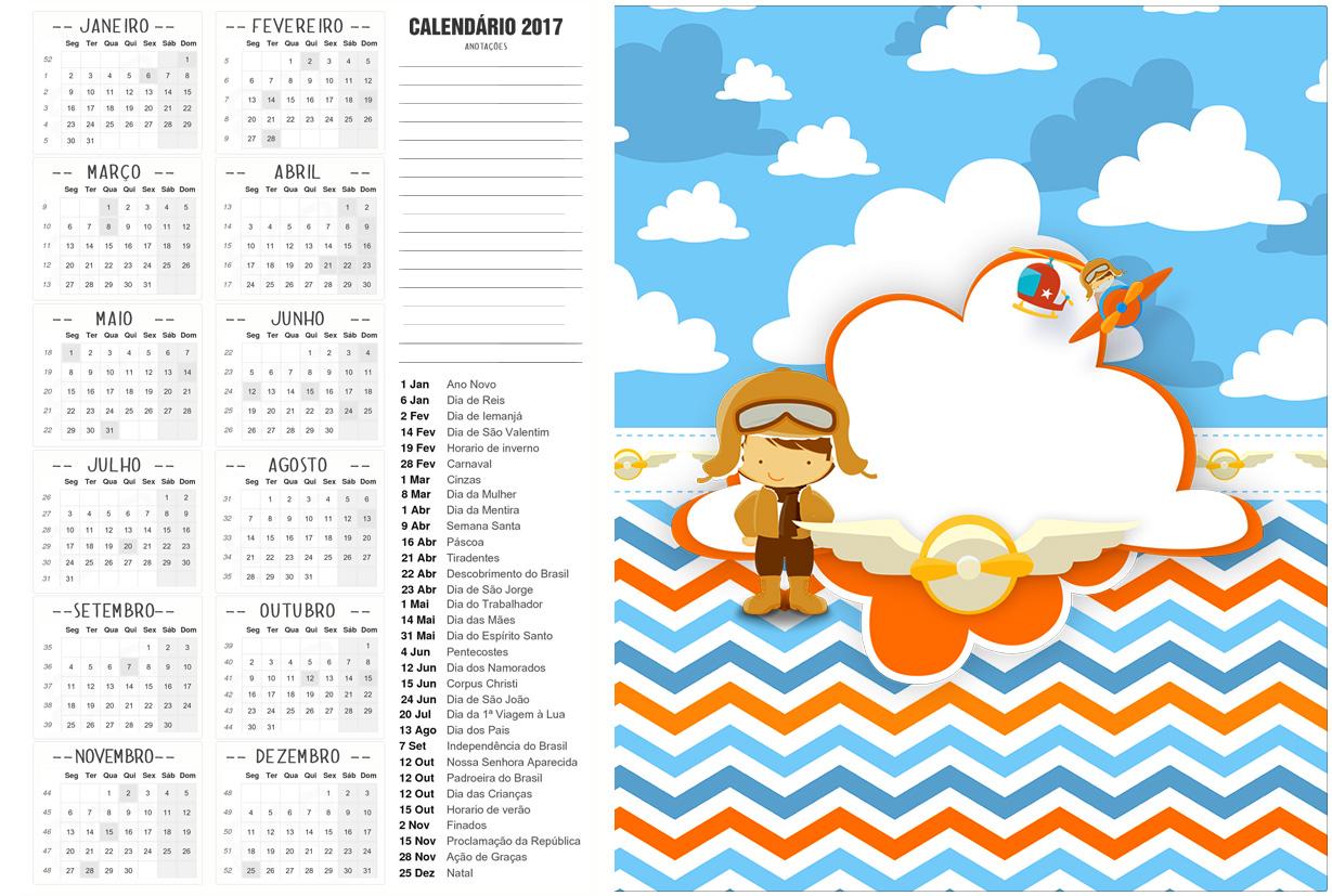 Calendario 2017 2 Menino Aviador