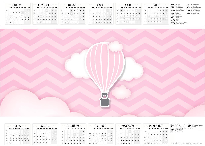 Calendario 2017 Balão de Ar Quente Rosa Kit Festa