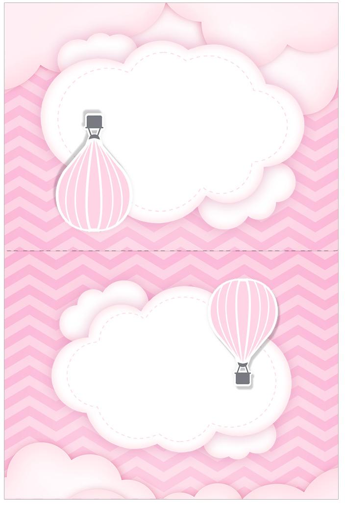 Cartão Agradecimento de mesa Balão de Ar Quente Rosa