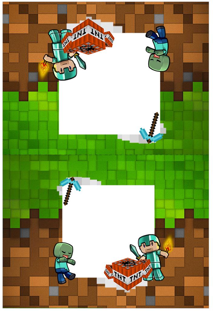 Cartao Agradecimento de mesa Minecraft