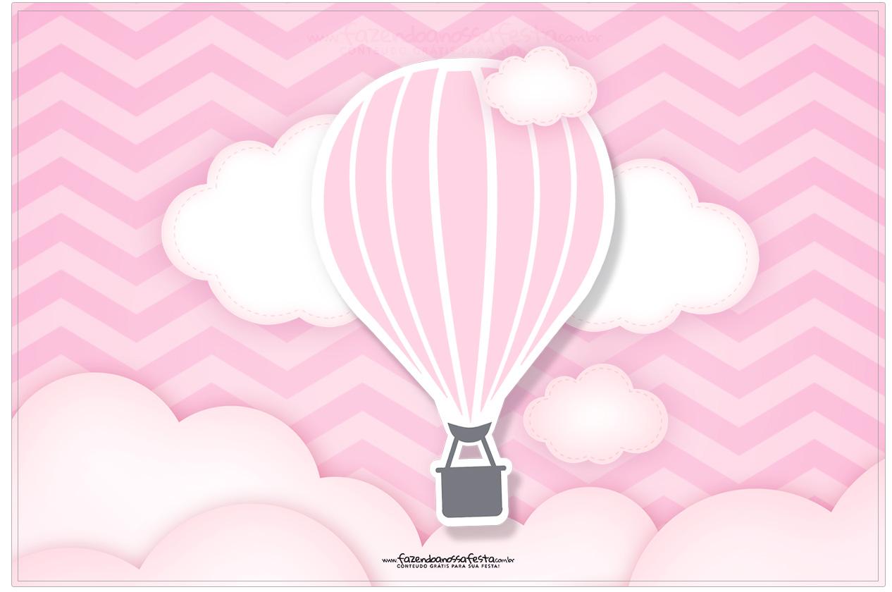 Cartao Balão de Ar Quente Rosa