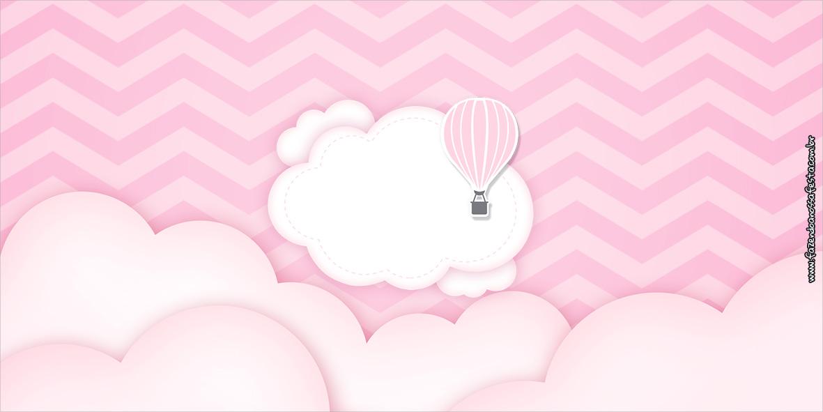 Cofrinho Balão de Ar Quente Rosa Kit Festa