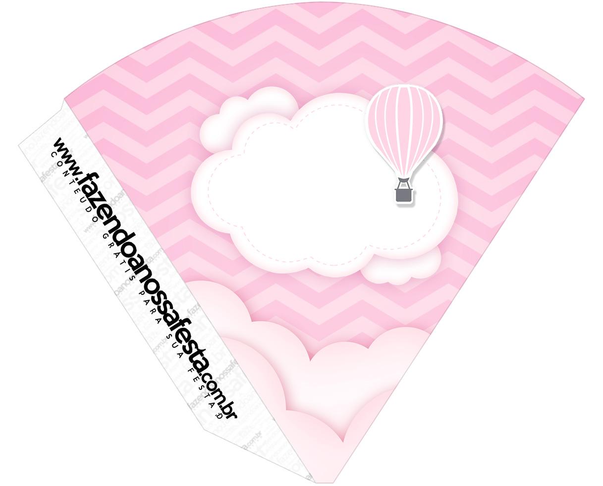 Cone Guloseimas Balão de Ar Quente Rosa