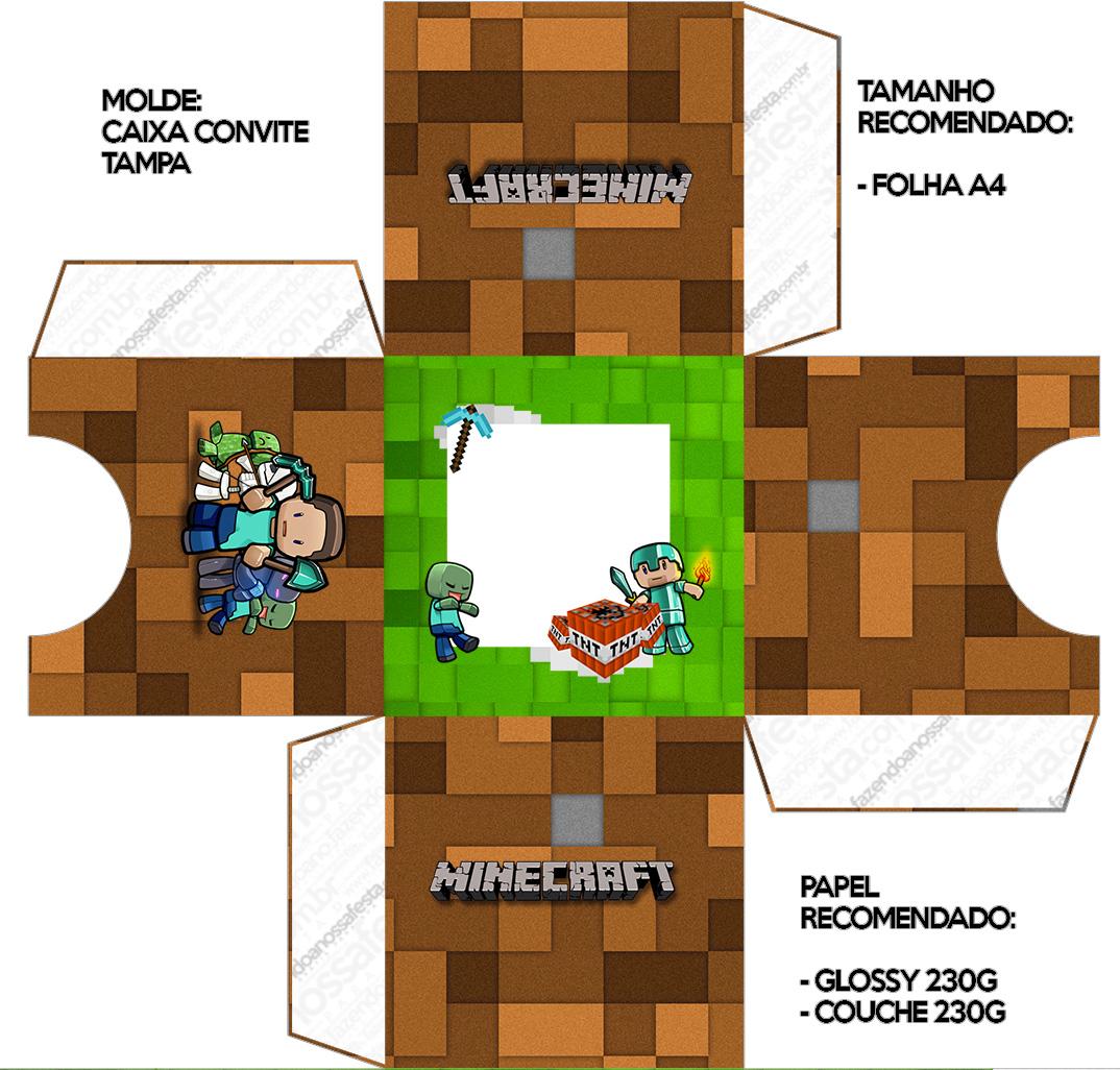 Convite Caixa Tampa Minecraft