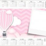 Convite Calendario 2017 Balão de Ar Quente Rosa
